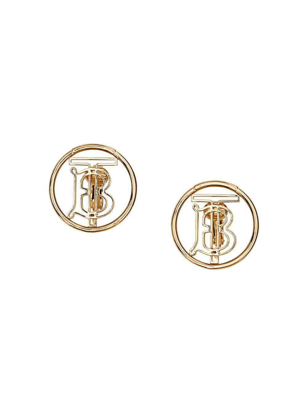 Gold Burberry Gold-plated Monogram Motif Earrings | Farfetch.com