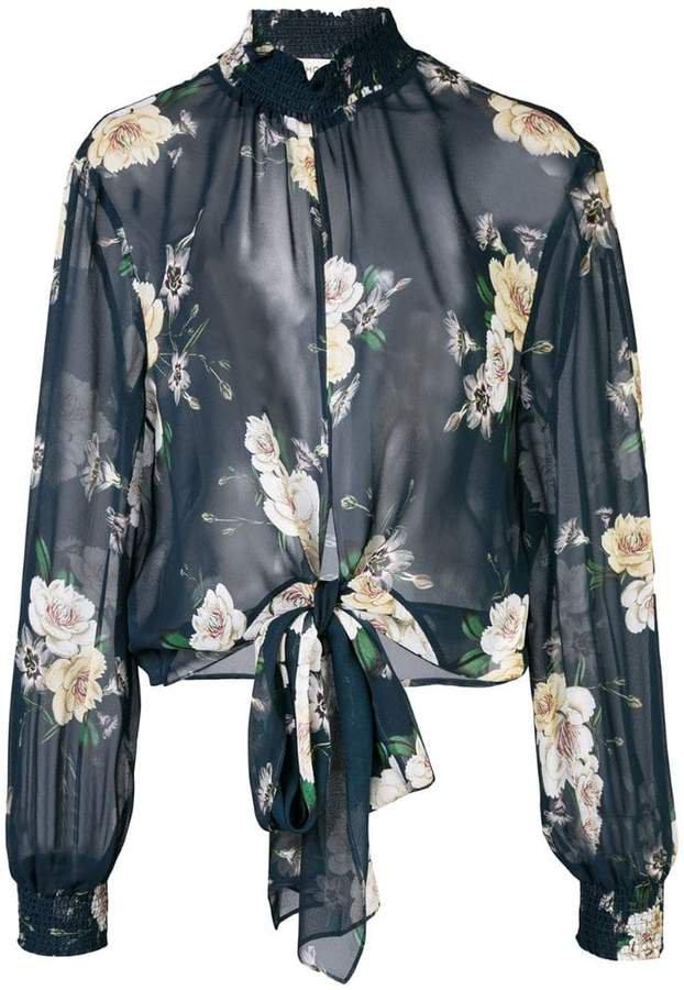 sheer floral print blouse