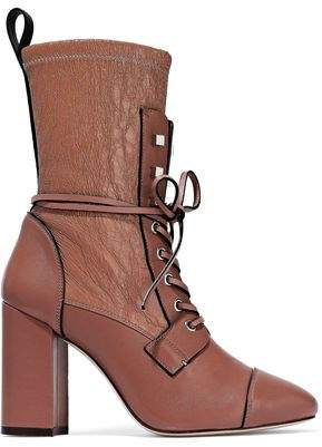 Smooth And Crinkled-leather Ankle Boots