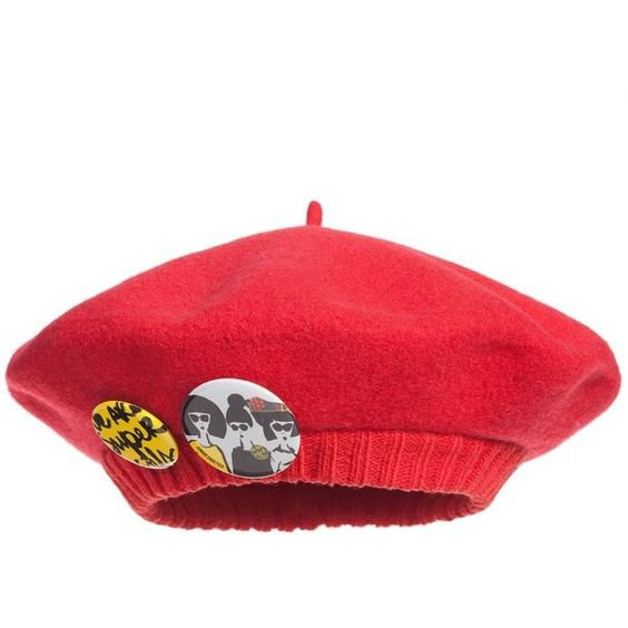 Junior Gaultier Girls Red Knitted Beret Hat