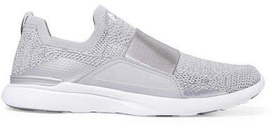 Techloom Bliss Metallic Mesh And Neoprene Sneakers - Silver