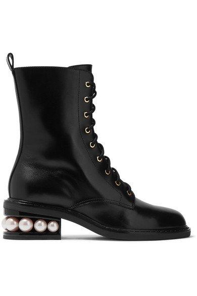 Nicholas Kirkwood | Casati embellished leather ankle boots | NET-A-PORTER.COM