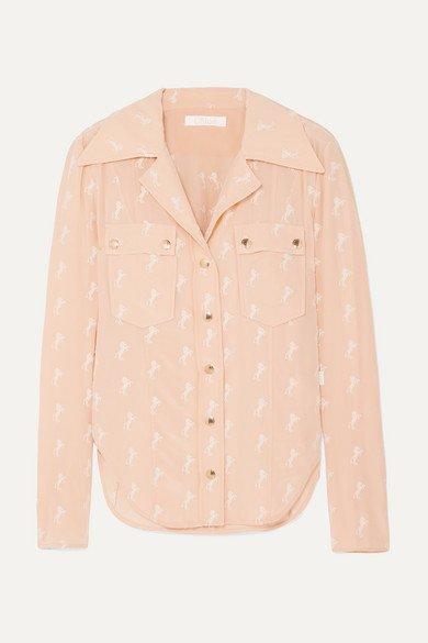 Chloé | Embroidered silk crepe de chine blouse | NET-A-PORTER.COM