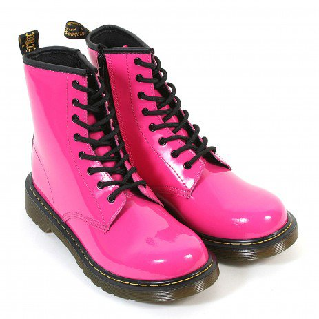 Dr Martens Youth Leather Lace Up / Zip Boot Hot Pink Patent