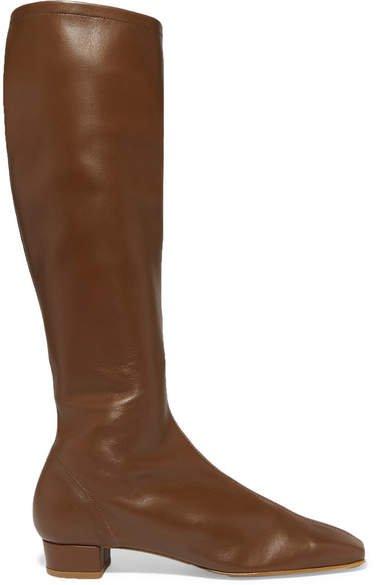 Edie Leather Knee Boots - Brown