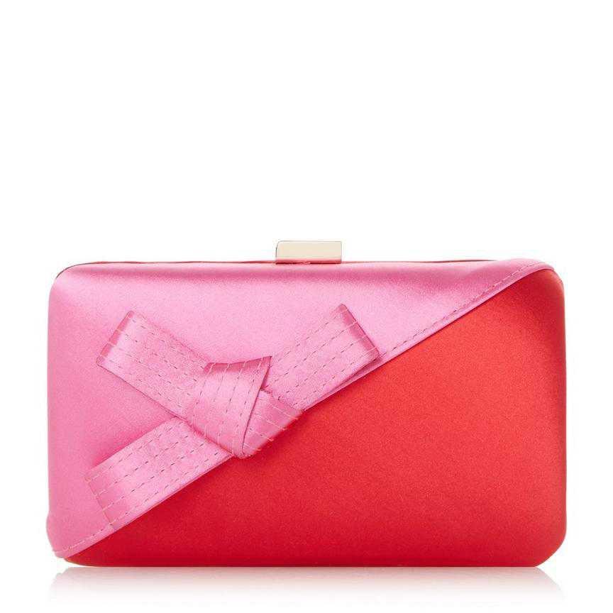BERKLAY - Bow Colour Block Satin Clutch Bag - red | Dune London