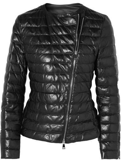 Quilted Leather Down Jacket - Black