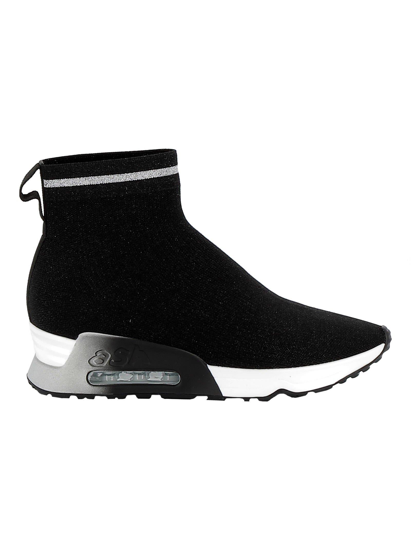Ash Black/silver Fabric Hi Top Sneakers