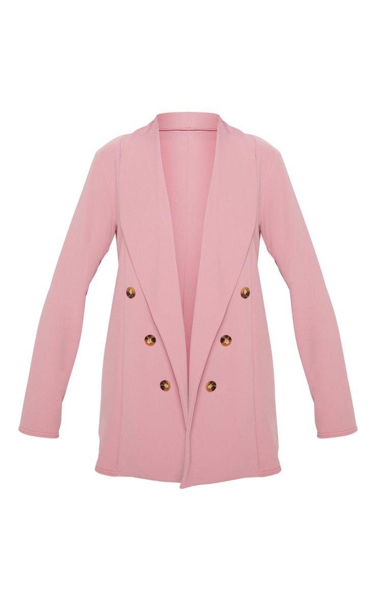 Pink Oversized Button Detail Blazer   PrettyLittleThing USA
