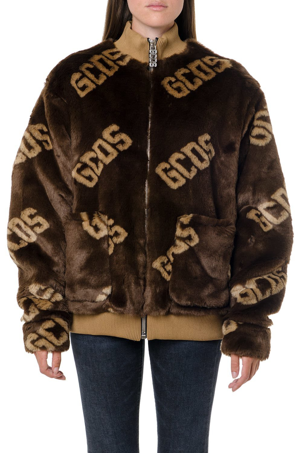 GCDS Brown Eco Fur All Over Logo Jacket
