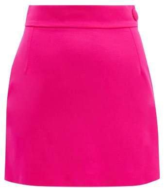 The High Rise Wool Blend Mini Skirt - Womens - Fuchsia