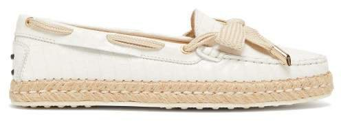 Gommini Leather Espadrille Loafers - Womens - White
