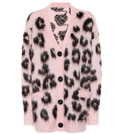 Mohair-blend leopard cardigan