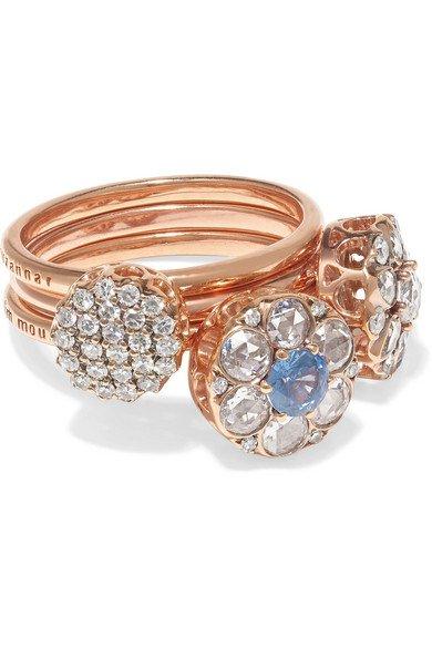 Selim Mouzannar | Beirut set of three 18-karat rose gold, diamond and sapphire rings | NET-A-PORTER.COM