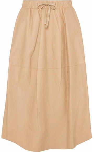 Leather Midi Skirt - Beige