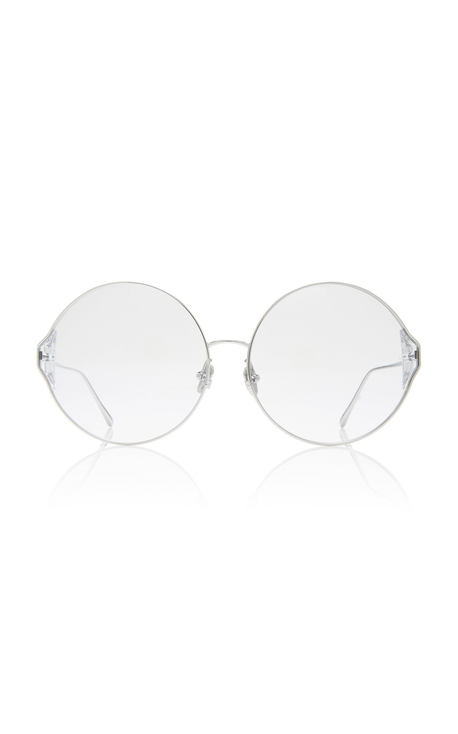 Linda Farrow Oversized Round-Frame Metal Sunglasses