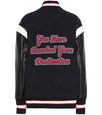 Appliquéd wool bomber jacket