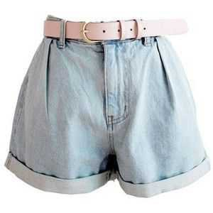 Wholesale Cheap Fashion New Arrive Korean Style Ruffle High Waist Jeans Shorts(With The Belt)