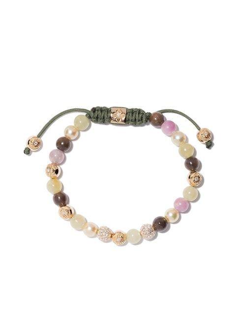 Shamballa Jewels 18kt yellow gold, diamond & sapphire beaded bracelet