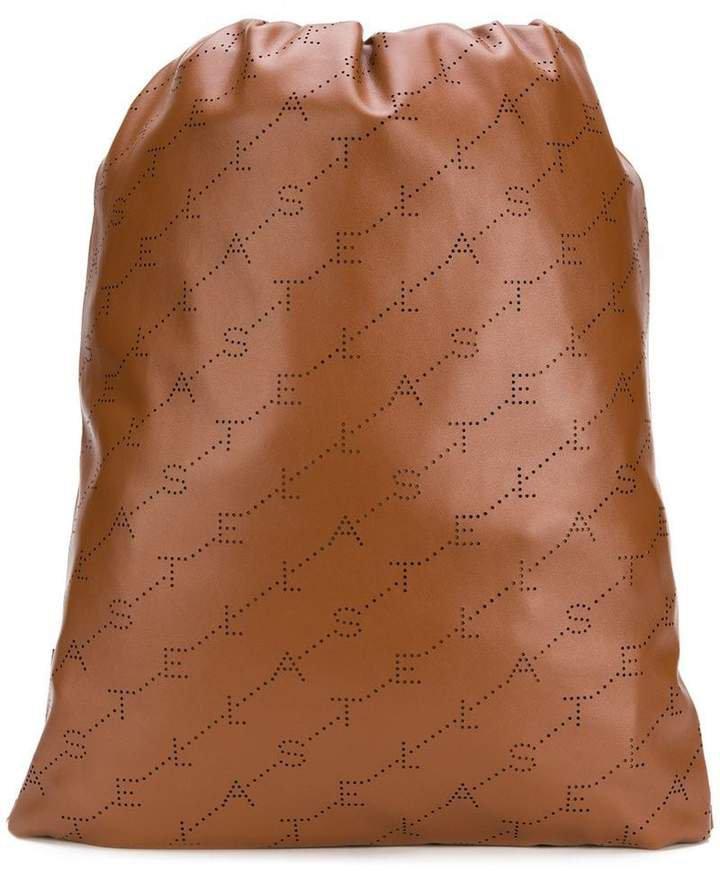 logo perforated drawstring backpack