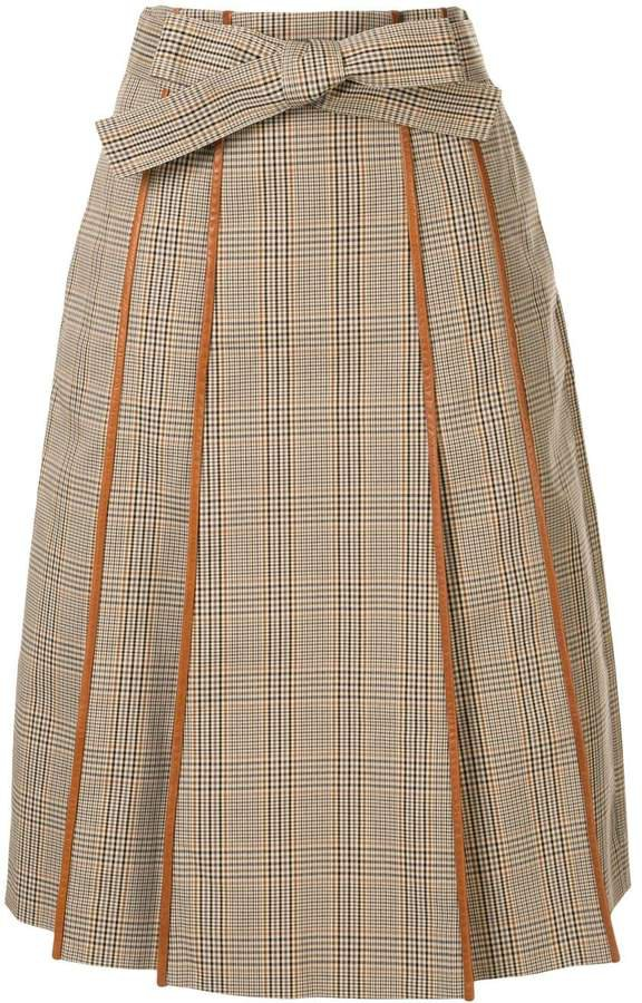 plaid print pleated skirt
