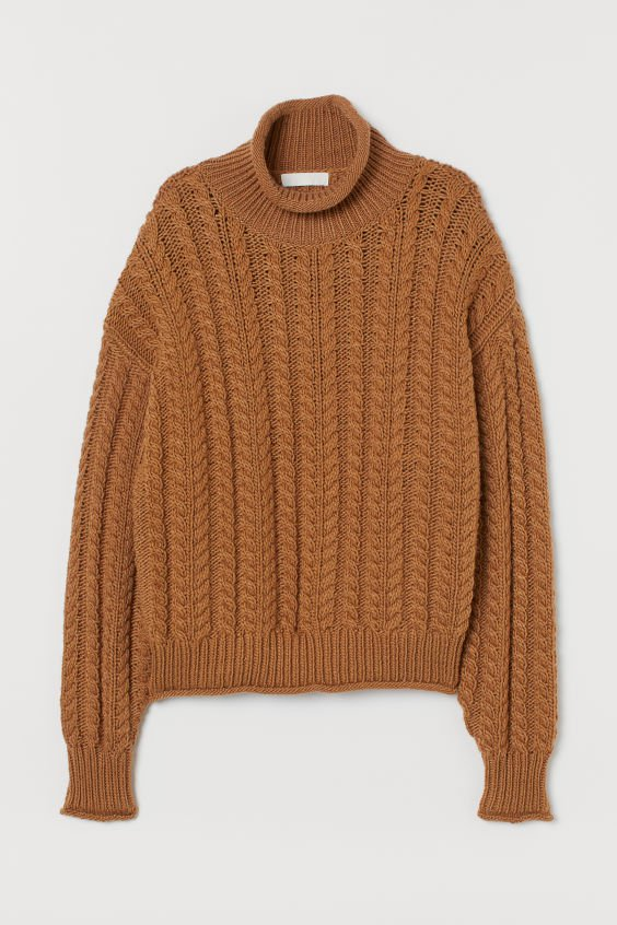 Cable-knit Turtleneck Sweater - Light brown - Ladies   H&M US
