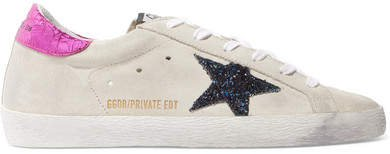 Superstar Leather-trimmed Glittered Distressed Suede Sneakers - Cream