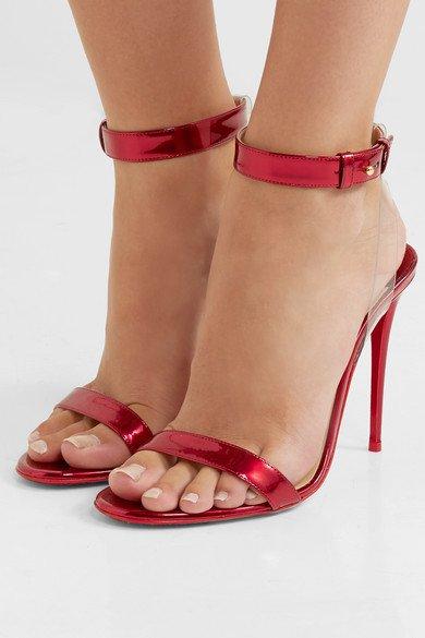 Christian Louboutin   Jonatina 100 PVC-trimmed mirrored-leather sandals   NET-A-PORTER.COM