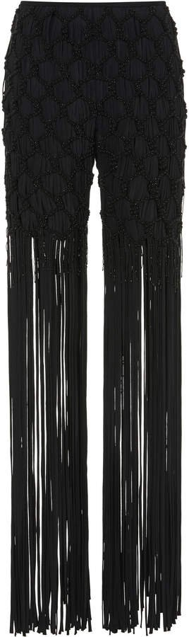Embroidered Fringe-Accented Pants