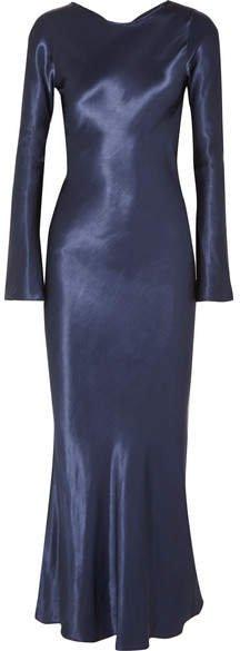 The Line By K - Esme Open-back Satin Maxi Dress - Navy