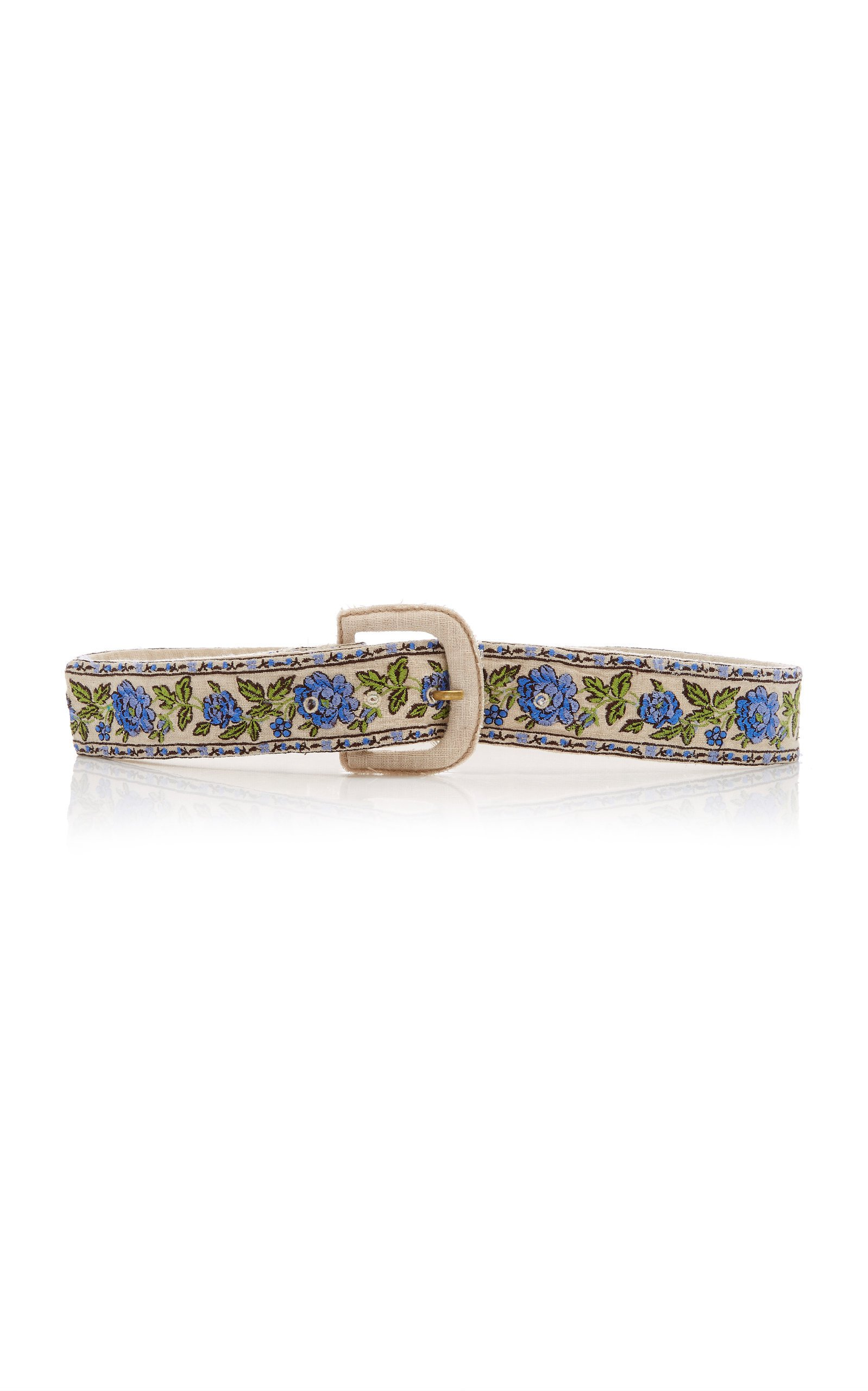 LoveShackFancy Santana Shirred Embroidered Belt