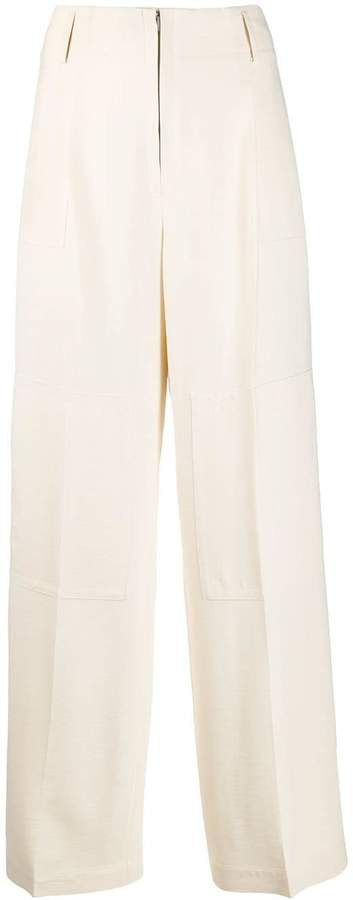 high rise flared trousers