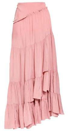 Asymmetric Ruffled Crepe Skirt