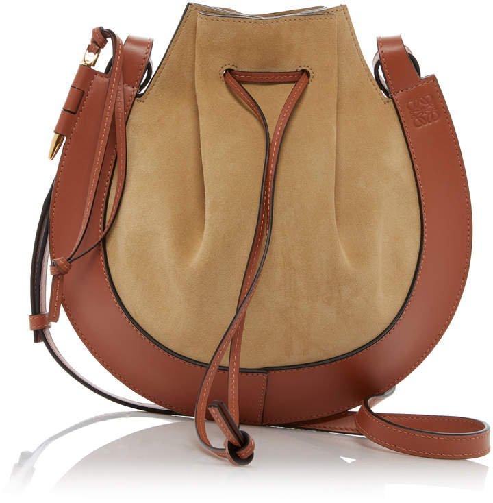 Loewe Horseshoe Two-Tone Suede Crossbody Bag