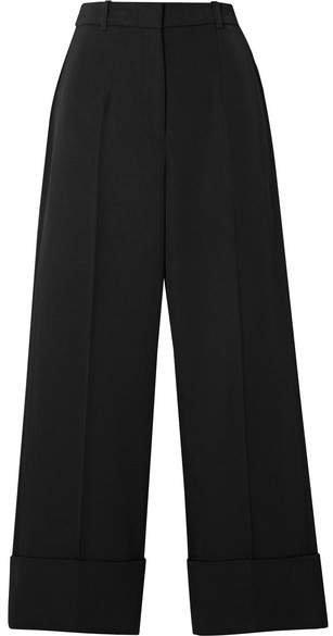 Cropped Wool-twill Straight-leg Pants - Black