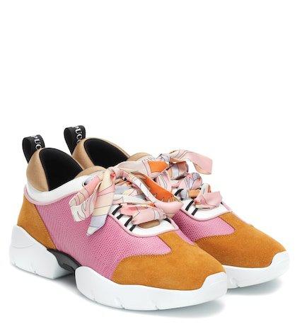 Embossed mesh and suede sneakers