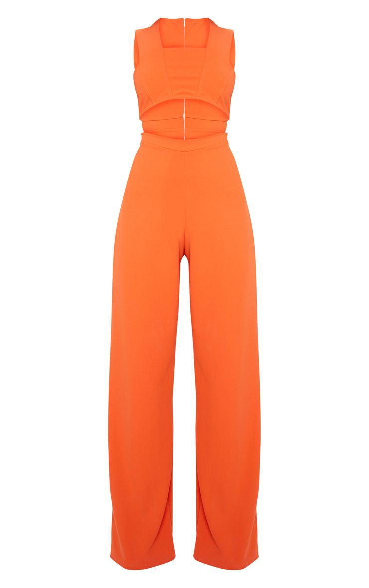 Orange Crepe Cut Out Jumpsuit | PrettyLittleThing USA