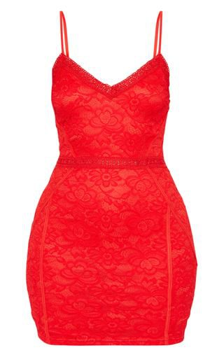 Red Lace Embroidered Trim Bodycon Dress | PrettyLittleThing