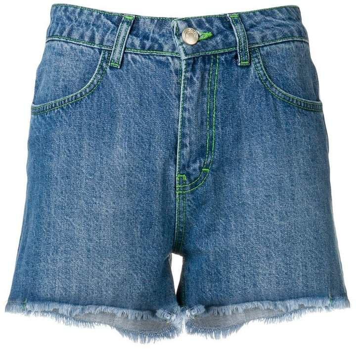 green stitch denim shorts