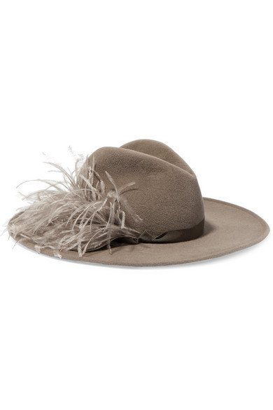 Gigi Burris | Jeanne feather-trimmed rabbit-felt fedora | NET-A-PORTER.COM