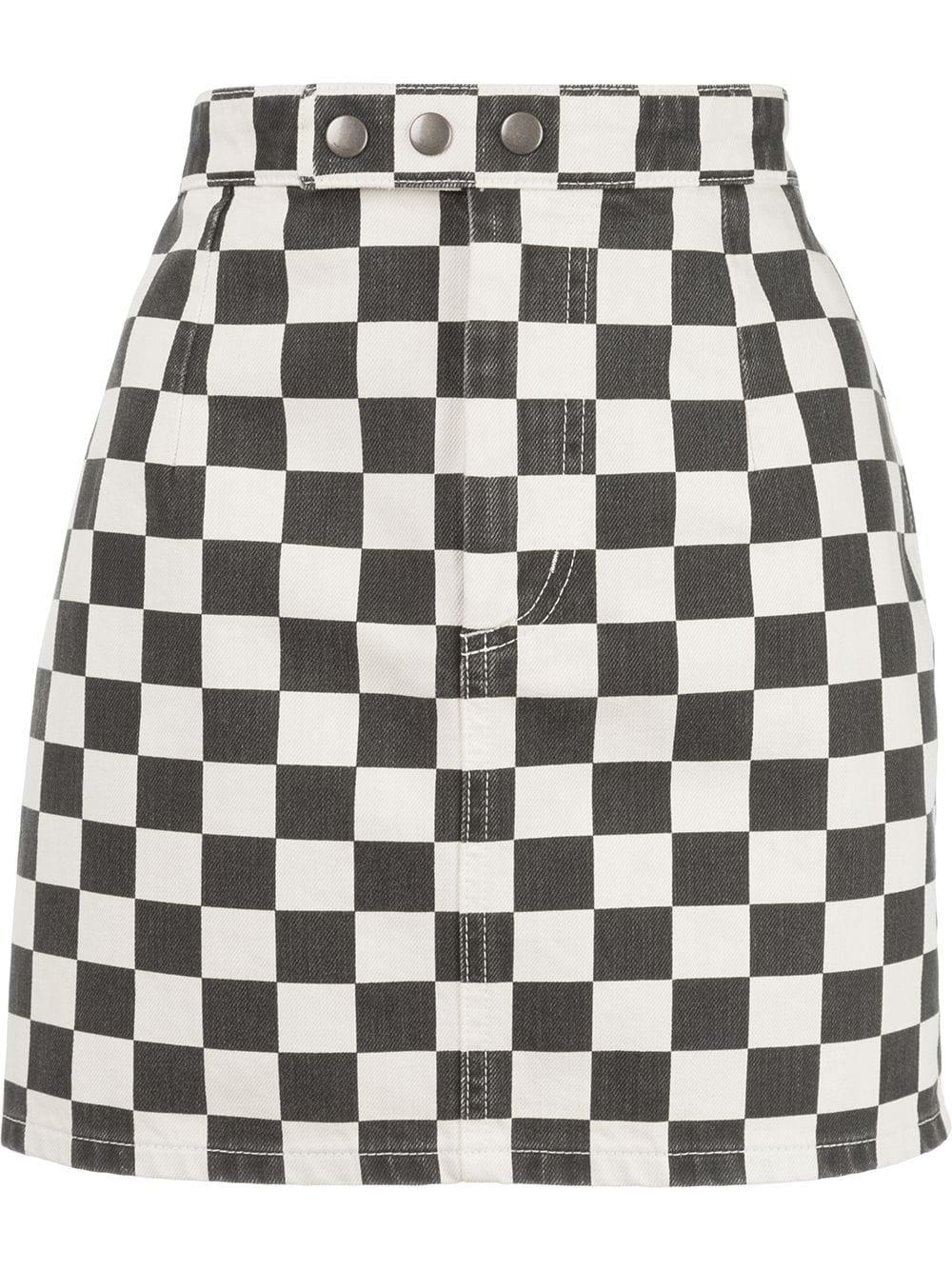 Saint Laurent Checkerboard Mini Skirt | Farfetch.com