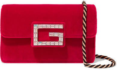 Broadway Crystal-embellished Velvet Shoulder Bag - Red