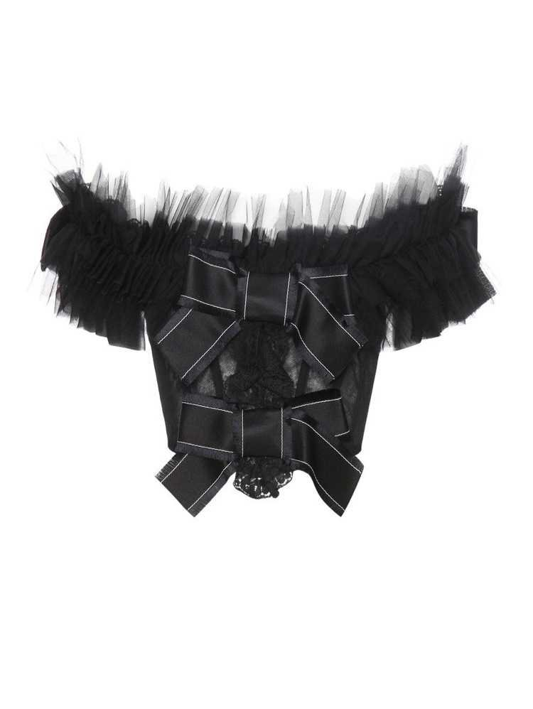 black sleeveless crop top with ribbons
