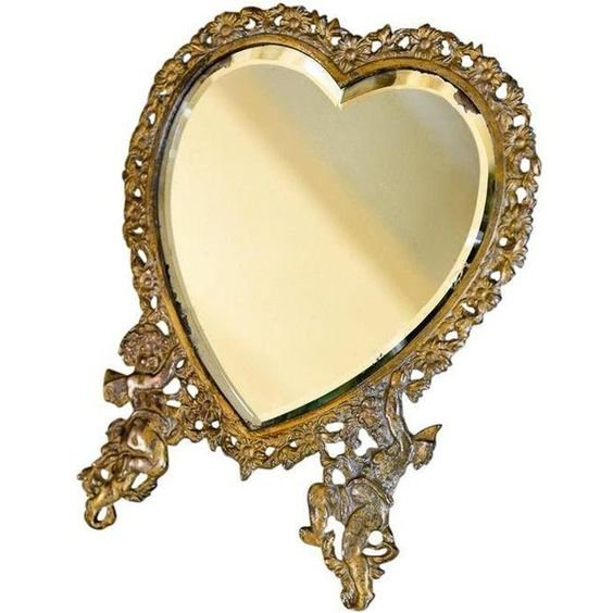 Large Victorian Heart-Shaped Easel Mirror
