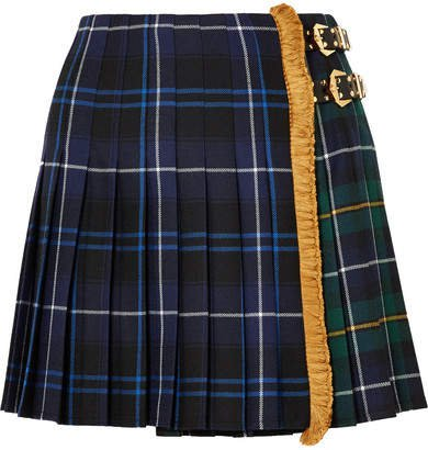 Fringed Pleated Tartan Wool Mini Skirt - Blue