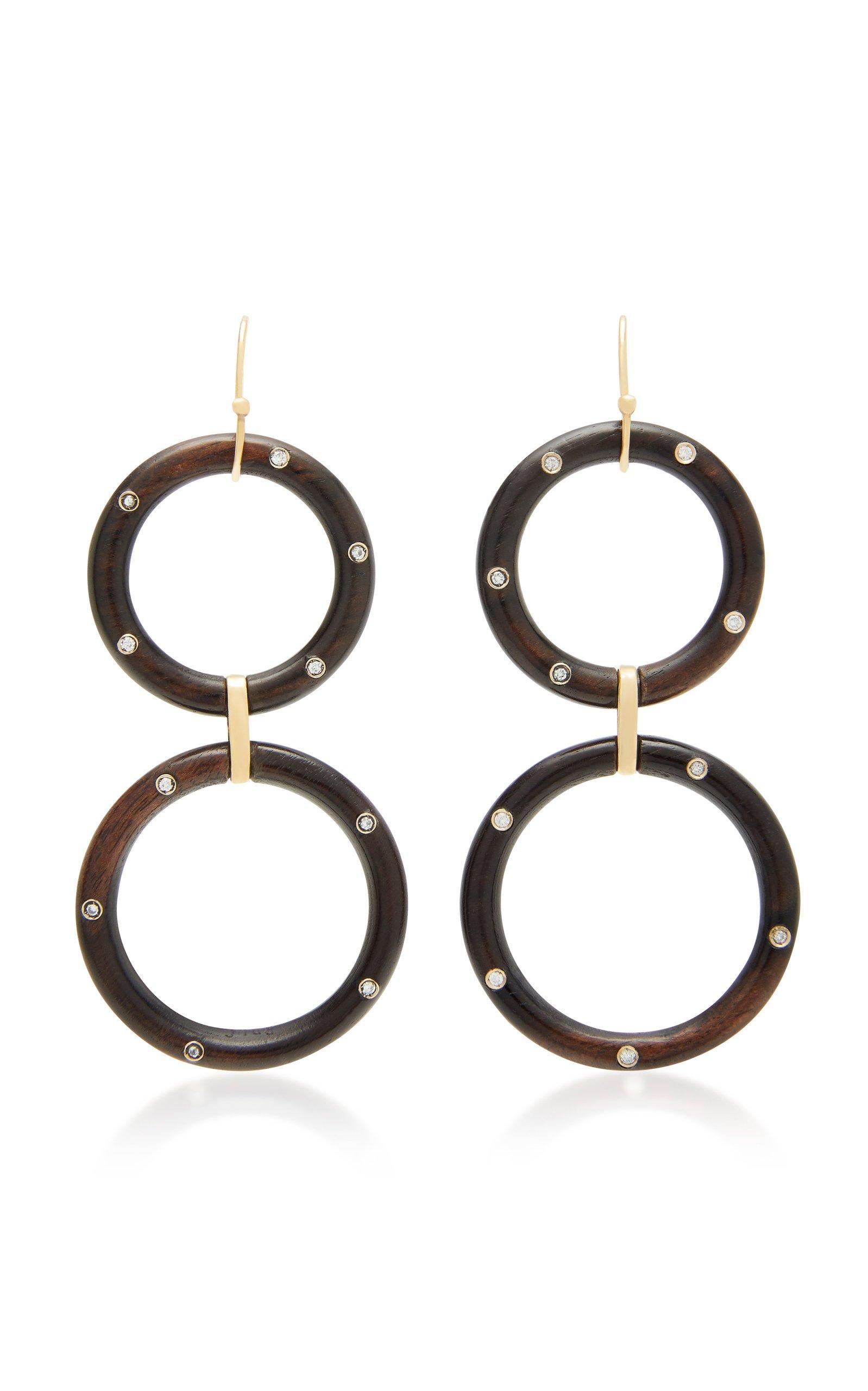 Rosa de la Cruz 18K Gold Ebony and Diamond Hoop Earrings