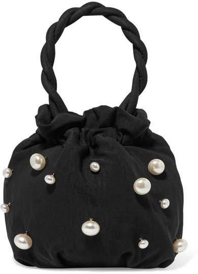 Grace Faux Pearl-embellished Twill Tote - Black