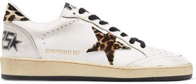 Ball Star Leopard-print Calf Hair And Leather Sneakers - White