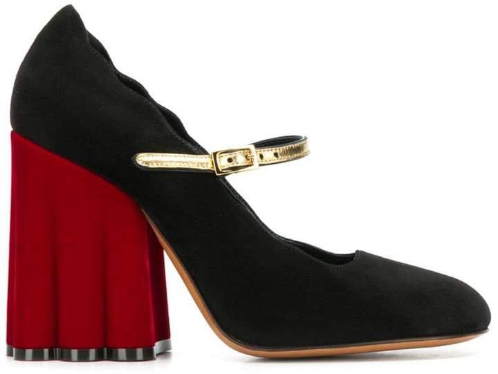 chunky heel mary jane pumps