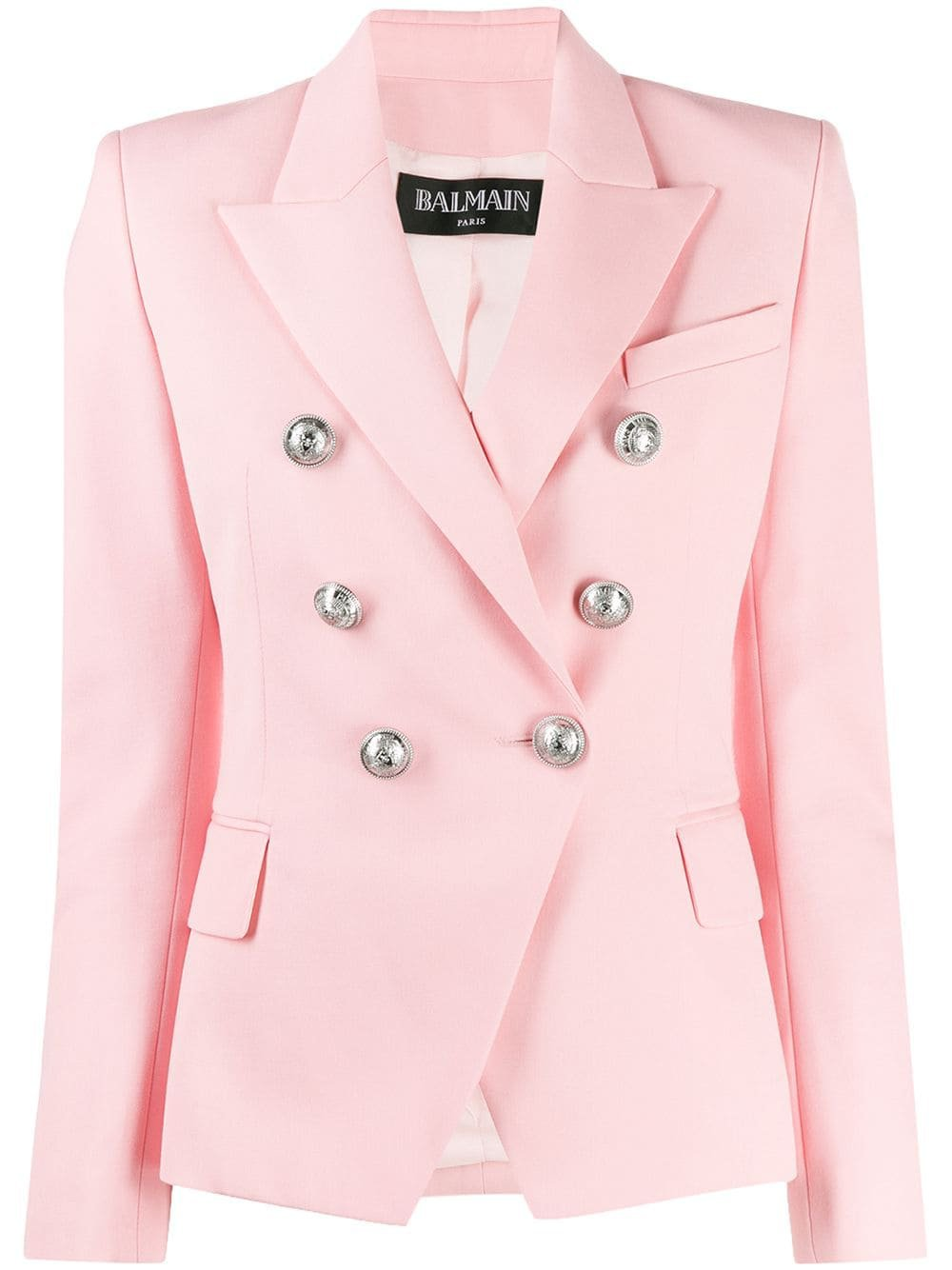Pink Balmain Double Breasted Blazer | Farfetch.com